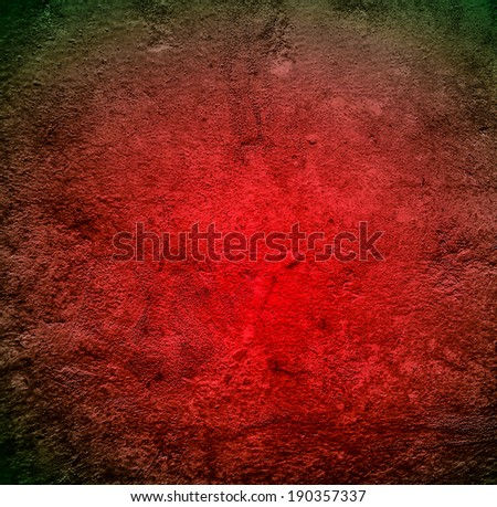 Abstract stonework background texture with old weathered dark stucco black paint stone cement wall in rural room. Grungy cold rock surface in hard grime empty place with red granite dull light floor. - stock photo