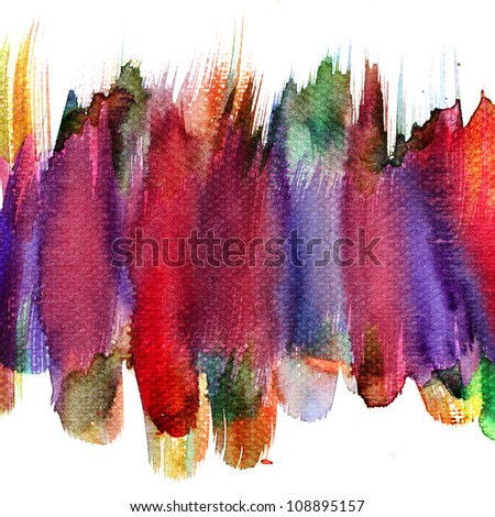 Abstract stripe watercolors colors wet on dry paper - stock photo
