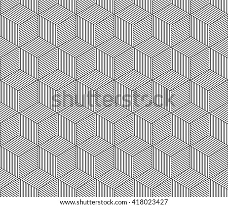 Abstract striped 3d cubes geometric seamless pattern in black and white, background - stock photo