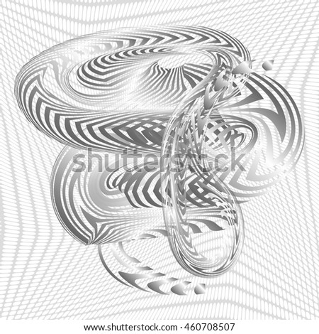 Abstract Structural Curved Pattern. Black Lines and White Waves. Raster. 3d Illustration - stock photo