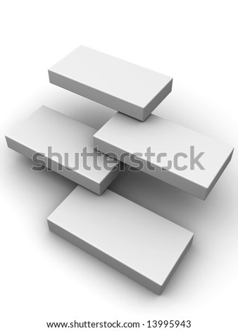 Abstract structure from four boxes. 3d - stock photo