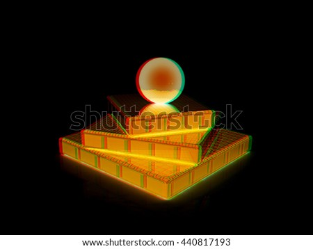 Abstract structure. Japanese still life on a black background. 3D illustration. Anaglyph. View with red/cyan glasses to see in 3D. - stock photo