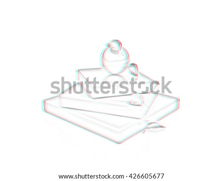 Abstract structure with leaves. Japanese still life on a white background. Pencil drawing. 3D illustration. Anaglyph. View with red/cyan glasses to see in 3D. - stock photo