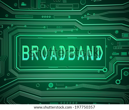 Abstract style illustration depicting printed circuit board components with a broadband concept. - stock photo