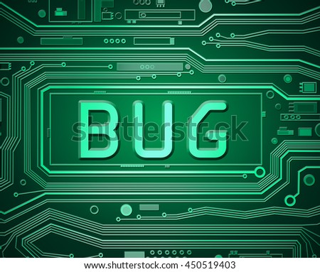 Abstract style illustration depicting printed circuit board components with a bug concept. - stock photo