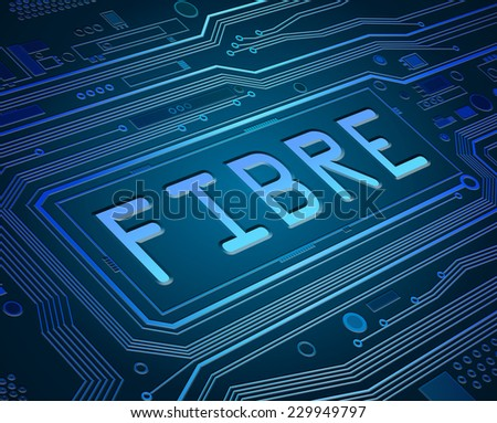 Abstract style illustration depicting printed circuit board components with a fibre concept. - stock photo