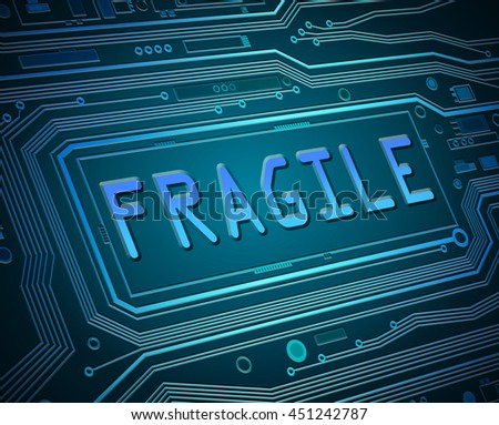 Abstract style illustration depicting printed circuit board components with a fragile concept. - stock photo