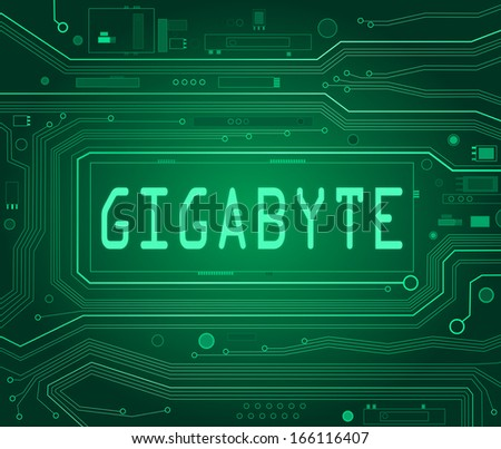 Abstract style illustration depicting printed circuit board components with a gigabyte concept. - stock photo