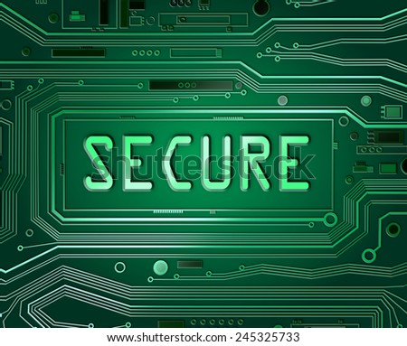 Abstract style illustration depicting printed circuit board components with a not secure concept. - stock photo