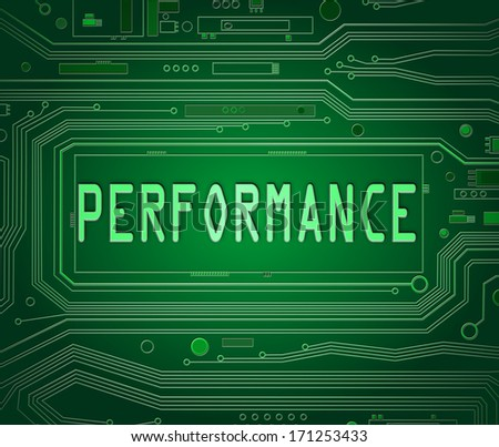 Abstract style illustration depicting printed circuit board components with a performance concept. - stock photo