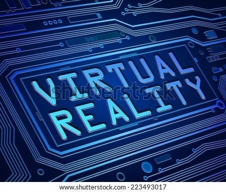 Abstract style illustration depicting printed circuit board components with a virtual reality concept. - stock photo