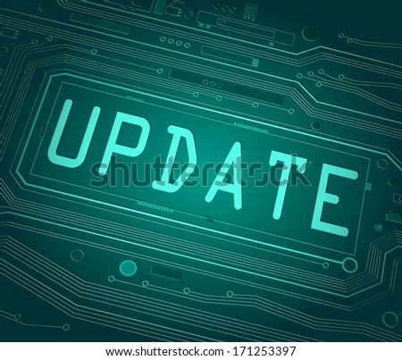 Abstract style illustration depicting printed circuit board components with an update concept. - stock photo