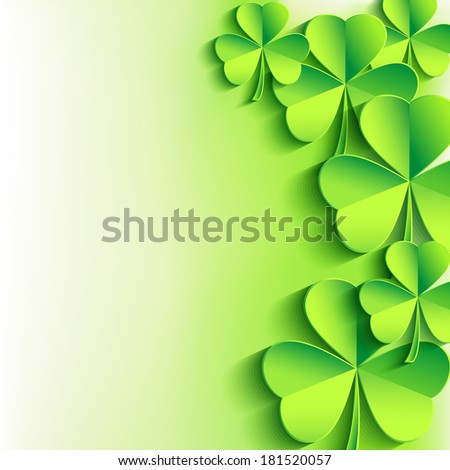 Abstract stylish St. Patrick's day background with green leaf clover. Trendy floral background. St. Patrick day card. Raster version  - stock photo