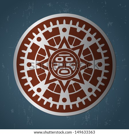 Abstract stylized maya sun symbol on dark blue background - stock photo