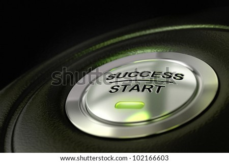 abstract success start button, metal material, green color and black textured background. Focus on the main word and blur effect. successful concept - stock photo