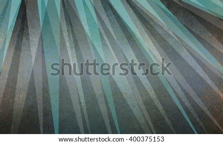 abstract sun ray or starburst pattern background in black gray and teal blue green triangle layer design - stock photo