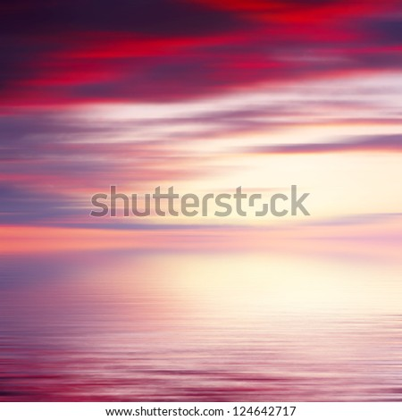 Abstract sunrise seascape background - stock photo