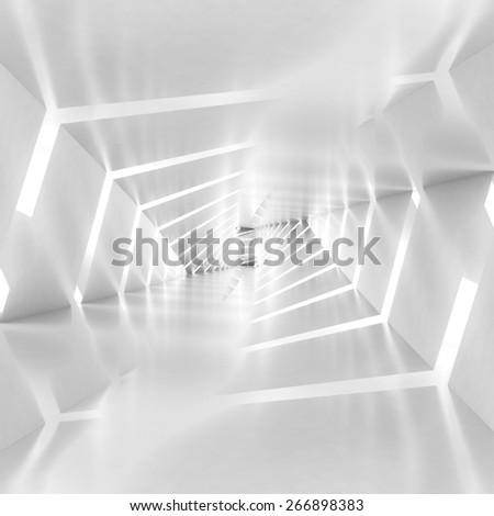 Abstract surreal tunnel background with spiral walls pattern, 3d illustration - stock photo