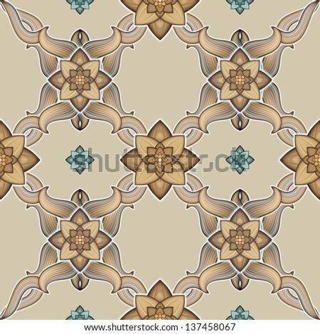abstract symmetric seamless ornamental pattern, floor carpet or textile design - stock photo
