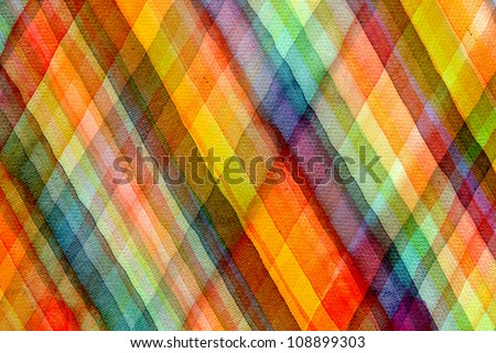 Abstract tartan watercolors ; colors wet on dry paper - stock photo