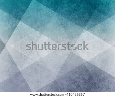 abstract teal blue and white pattern blocks in diagonal lines with vintage texture - stock photo