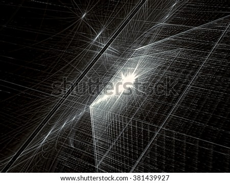 Abstract tech background computer-generated image. Fractal background textured angled surface and light effects. Modern fractal artwork - bright monochrome backdrop for web-design, covers a - stock photo