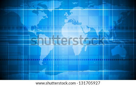 Abstract tech background with world map texture - stock photo