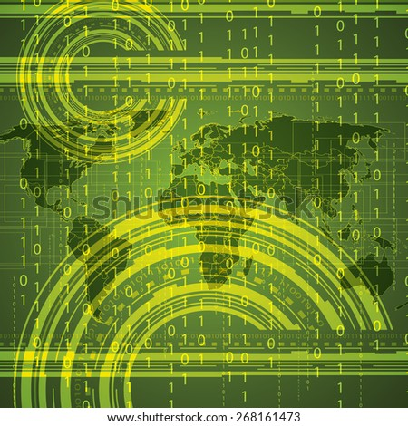 Abstract tech binary green global background   - stock photo