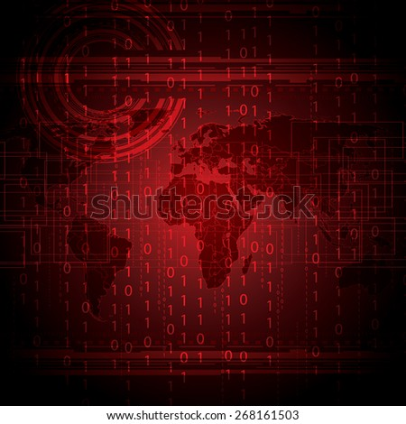 Abstract tech binary red global background   - stock photo