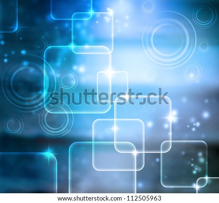Abstract Tech Blue Shiny Background with Glares - stock photo