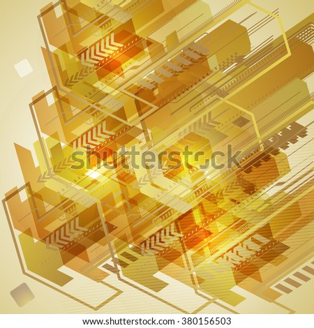 Abstract techno design with arrows. Raster version. - stock photo