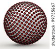 Abstract technol sphere, 3d golden ratio Fibonacci sequence concept. Red LEDs lining a metallic sphere. - stock photo