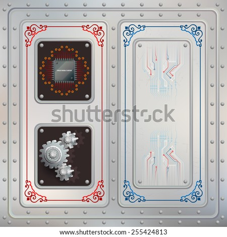 Abstract technology background; Processor Chip  and cogwheels riveted in a metallic slot, two of symbols of technology; Scratched steel boards tied together with many rivets; Electronic circuits.  - stock photo