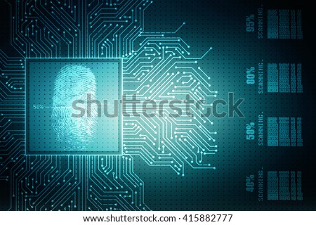 Abstract technology background.Security system concept with fingerprint Letter P sign - stock photo