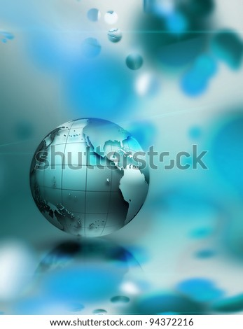 abstract technology background with an blue planet - stock photo