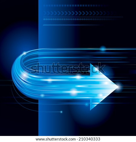 Abstract technology background with arrow shape. Raster. - stock photo