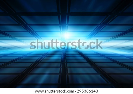Abstract technology background with bright flare - stock photo