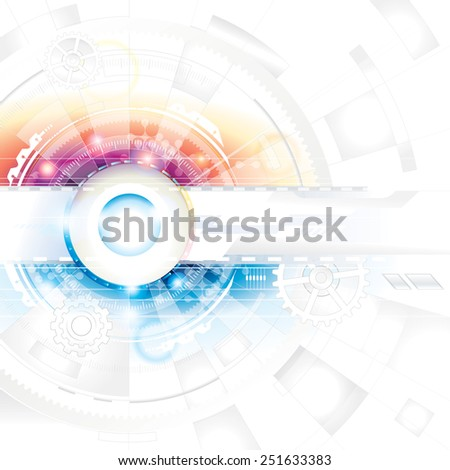 Abstract technology composition background in blue and red. - stock photo