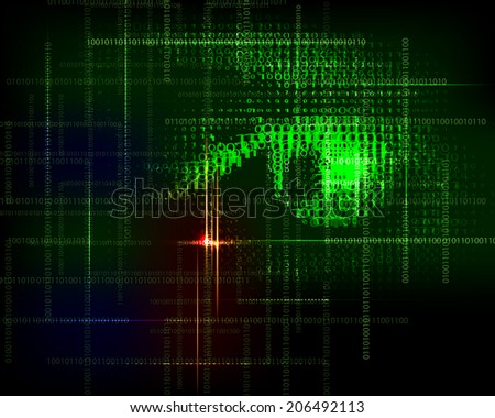 Abstract  technology trendy  background with  binary code. Raster version. - stock photo