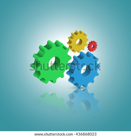 Abstract template with 3D gears cogwheels for websites, infographics or business design banners. illustration. - stock photo