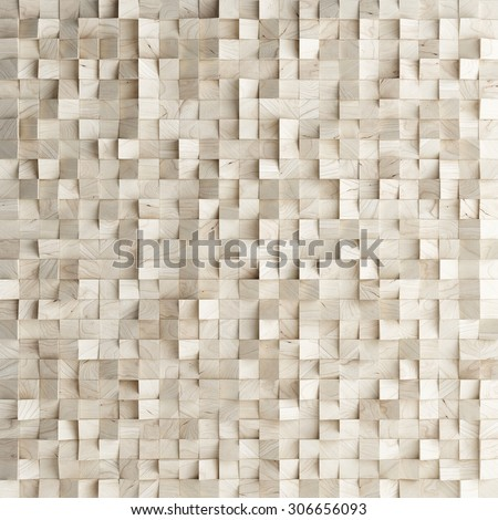 Abstract texture from wooden cubes, 3d render - stock photo