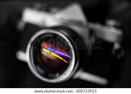 Abstract - The illusion from out of focus vintage camera - stock photo
