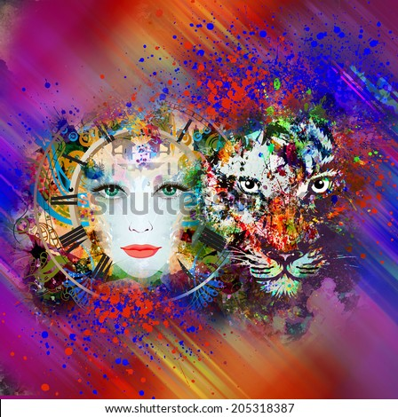 Abstract tiger and woman face - stock photo