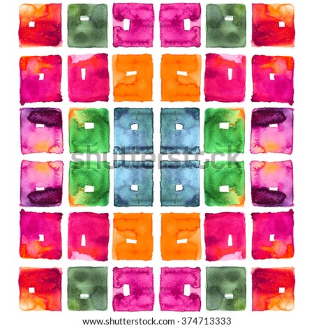 Abstract tile watercolor : square pattern - stock photo
