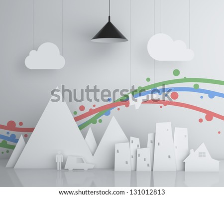 abstract toy city and lamp - stock photo