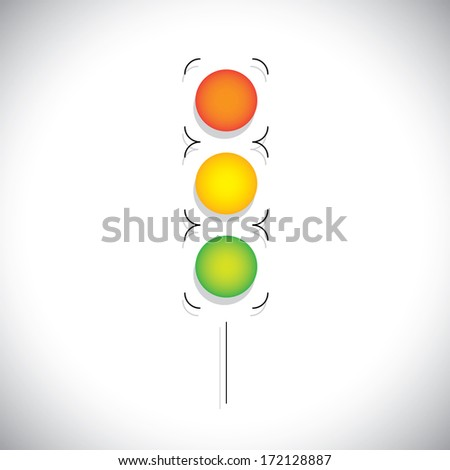 abstract traffic signal illustration with red, orange & green lights on white background.  - stock photo
