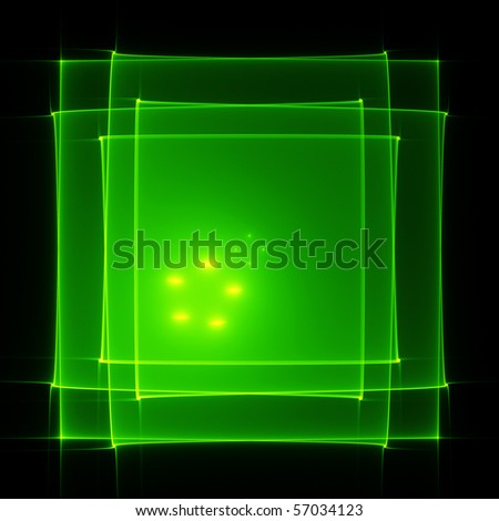 Abstract translucent green squares on black - stock photo
