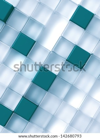 Abstract transparent and blue cubes on a white - stock photo