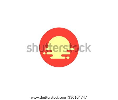 Abstract travel logo design template. Creative tourism icon. Modern sun beach vocation logotype. Breakfast food cafe, restaurant idea logo - sun, plate, egg, omelet. - stock photo