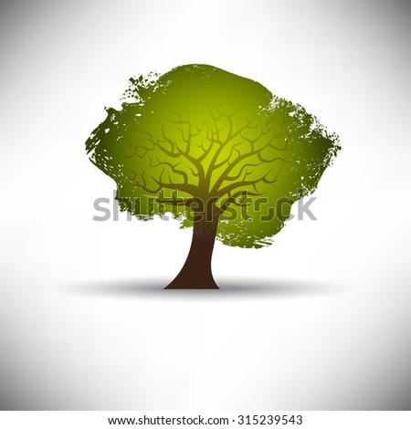 Abstract tree on a gray background with space for text - stock photo
